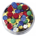 SEQUINS IN A JAR ROUND EMBOSSED 50gm asstd