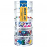 MOVING EYES STACKABLES Coloured assorted 5 containers 450pc