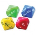 10-SIDED MOULDED JUMBO PLACE VALUE SILENT DICE SETS