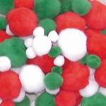 POM POMS Christmas Colours Assort Glitter & Plain 300pc